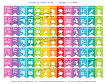 "Payday Planner Stickers Flag Banner Printable Calendar Agenda Organization 1"" H x 0.75"" wide Erin Condren, Plum Paper or other planner -F002"