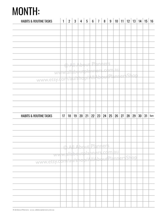 picture relating to Monthly Habit Tracker Printable titled routine tracker printable month-to-month planner in direction of do editable