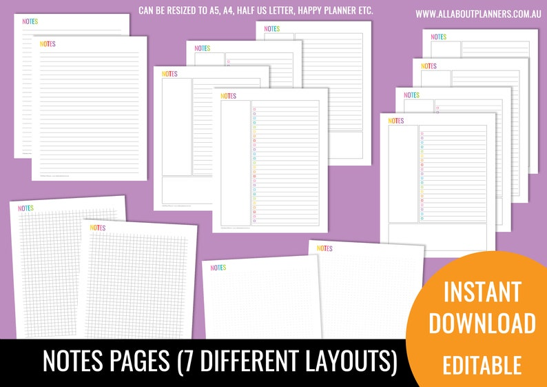 Notes page printable planner insert refill bullet journal image 0