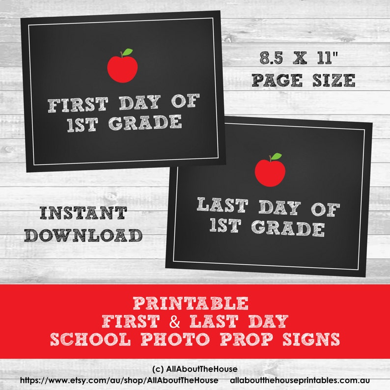 Grade Signs  School photo prop printable first day last day image 0