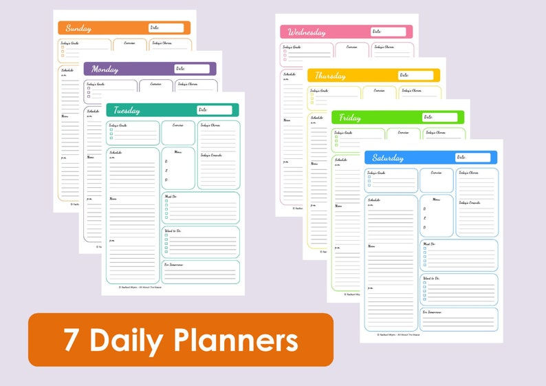 MULTICOLOURED Printable Daily Planners  Time Management  7 image 0