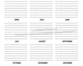 """Important Dates Printable Special Planner 2020 2021 day planner daily planner Agenda Rainbow PDF Editable Household Binder 8.5 x11"""" letter"""