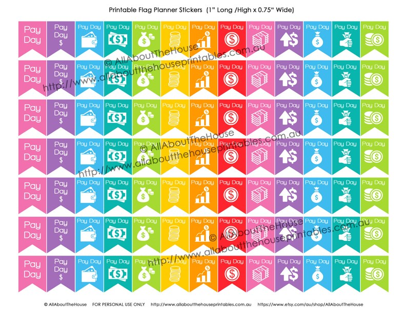 Payday Flag Printable Planner Stickers Banner Calendar Agenda image 0