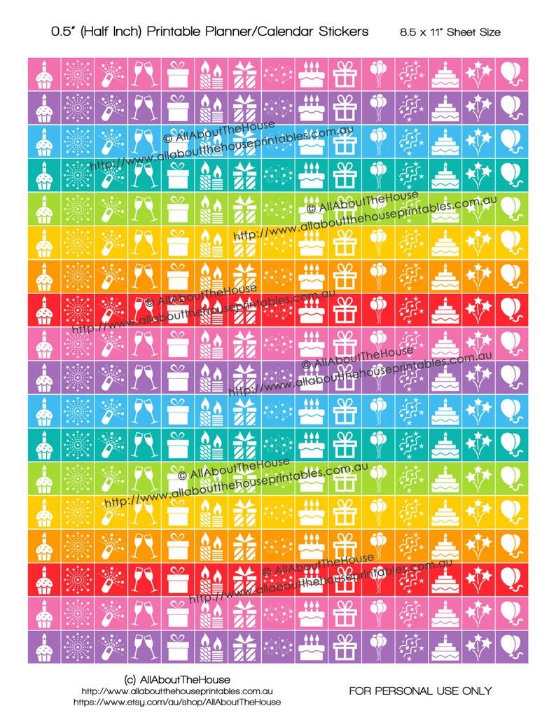 Party Celebrate Birthday Planner Stickers Printable Rainbow image 0
