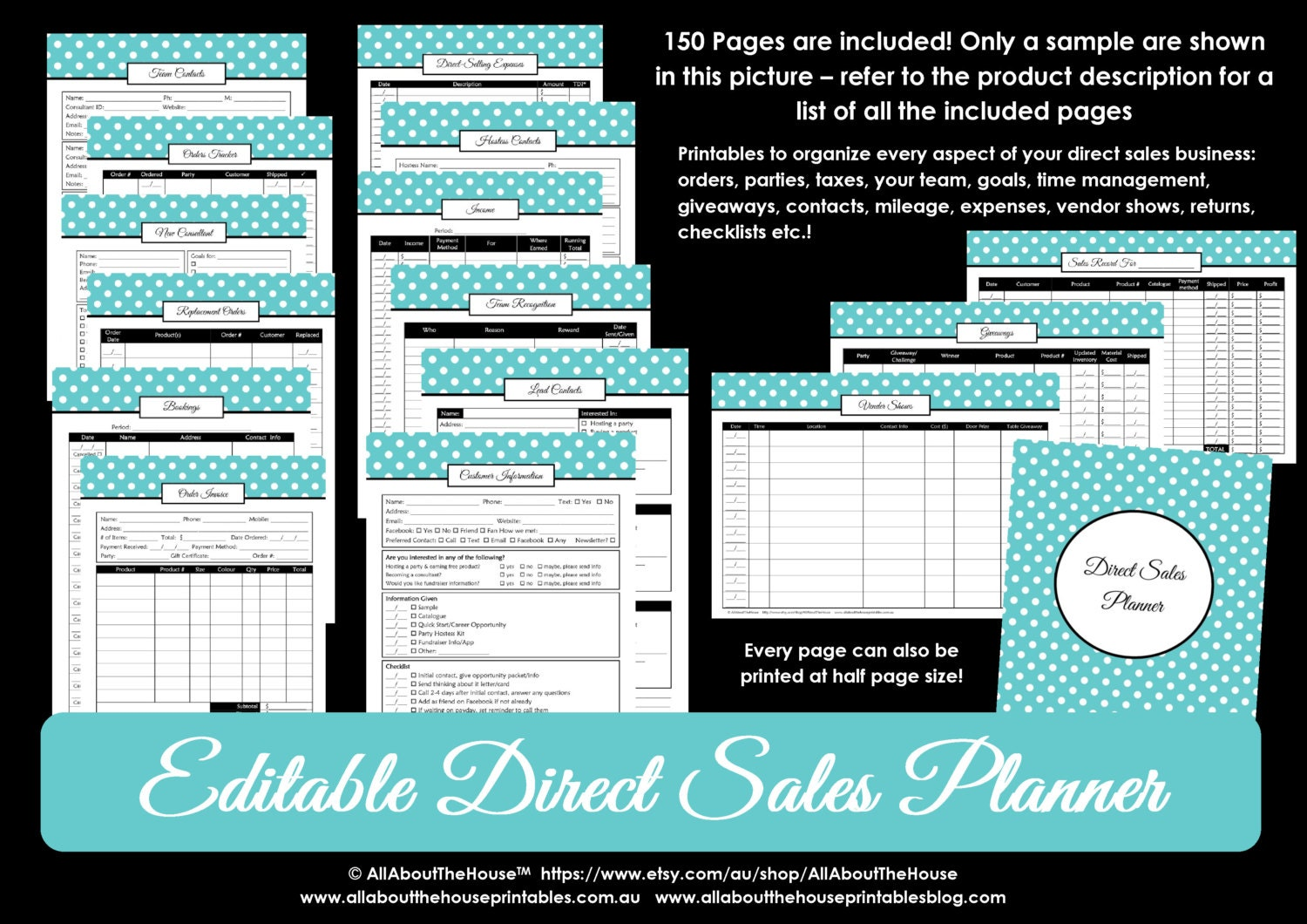 graphic regarding Free Printable Direct Sales Planner titled Guide Revenue Planner Editable Workplace Planner Binder Printables Prepare Any Lead Product sales Office 150internet pages Blue Polka Dot Immediate Down load