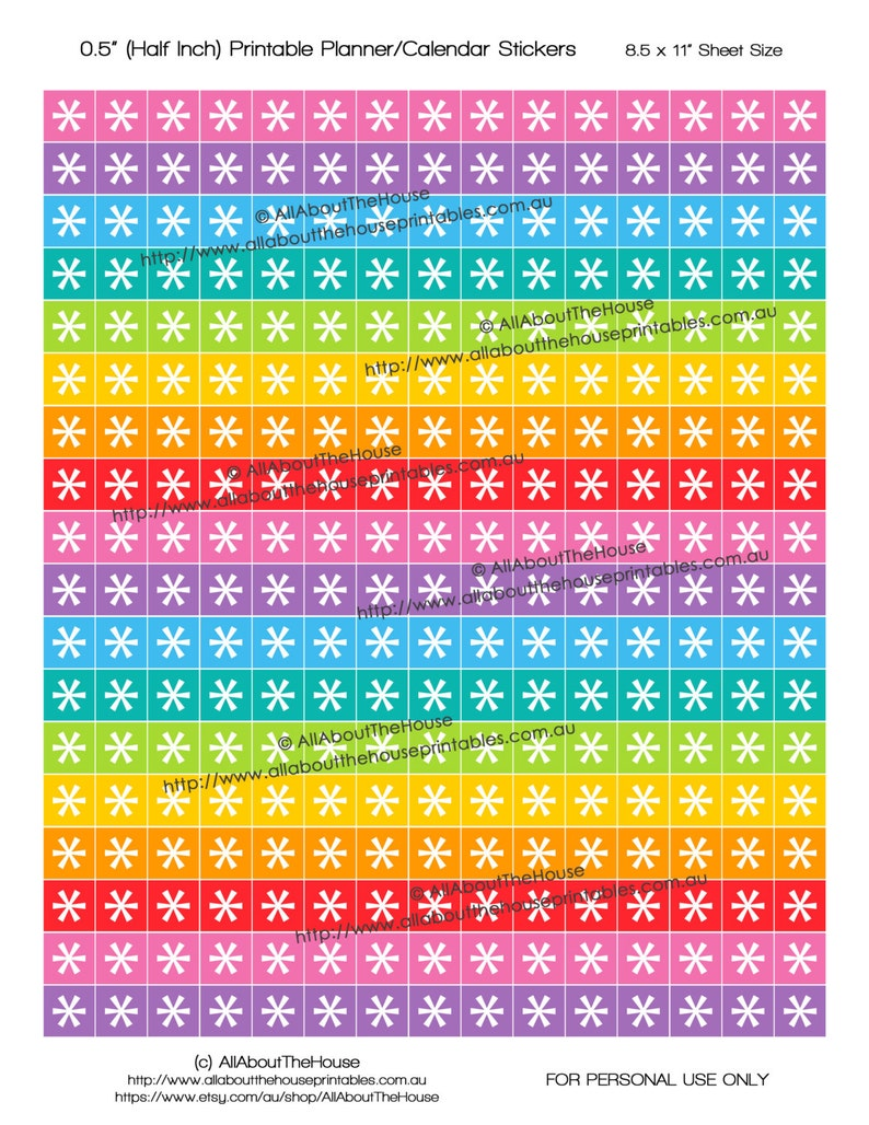 Asterisk Planner stickers Printable 1/2 Square Rainbow image 0