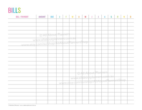 image relating to Spending Log Printable identify Monthly bill tracker printable editable add charges payments