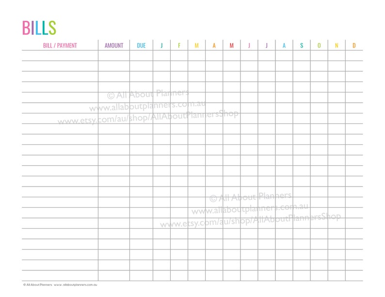 photograph about Bill Tracker Printable named Monthly bill tracker printable editable add expenses payments shelling out log template planner refill rainbow revenue tracker finance budgeting pdf