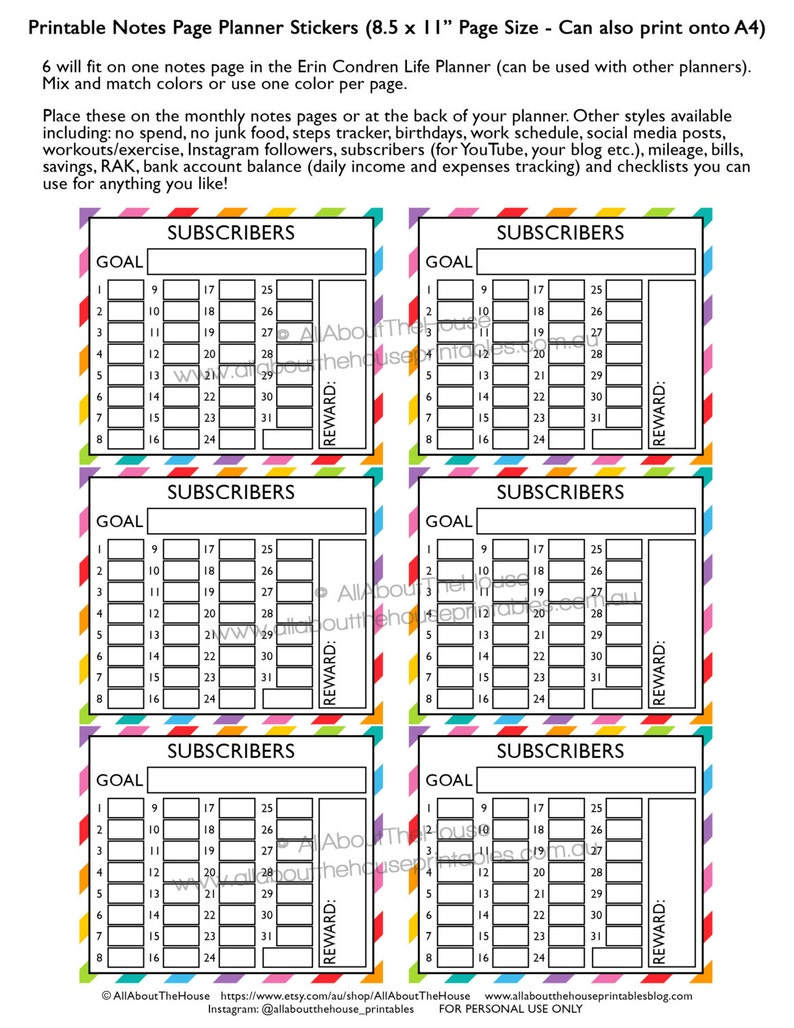 Subscribers planner stickers notes page Printable blogging image 0