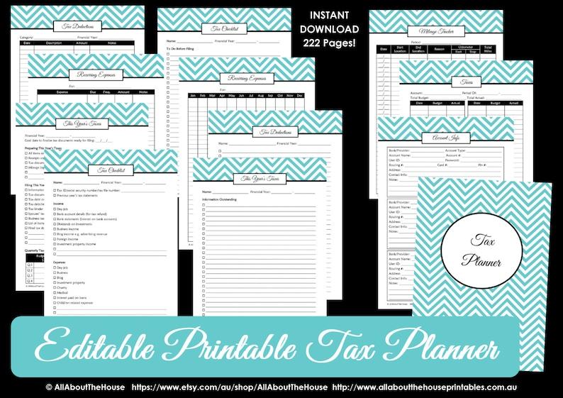 EDITABLE LIGHT BLUE Tax planner printable organizer Household image 0