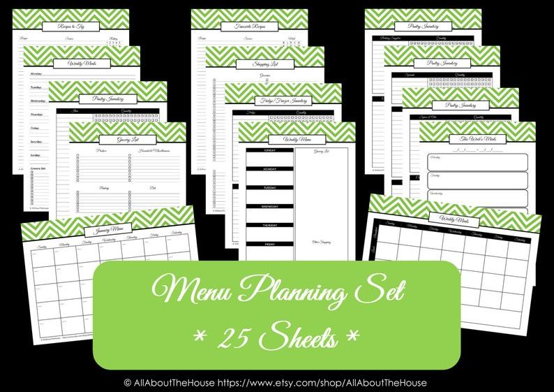 Menu Planner Printables  Meal Planning Organisation-Household image 0