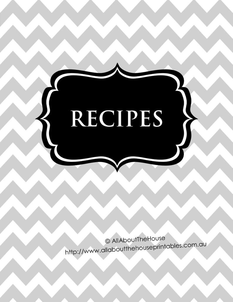 EDITABLE Recipe Binder Printable Grey black Recipe Sheet image 0