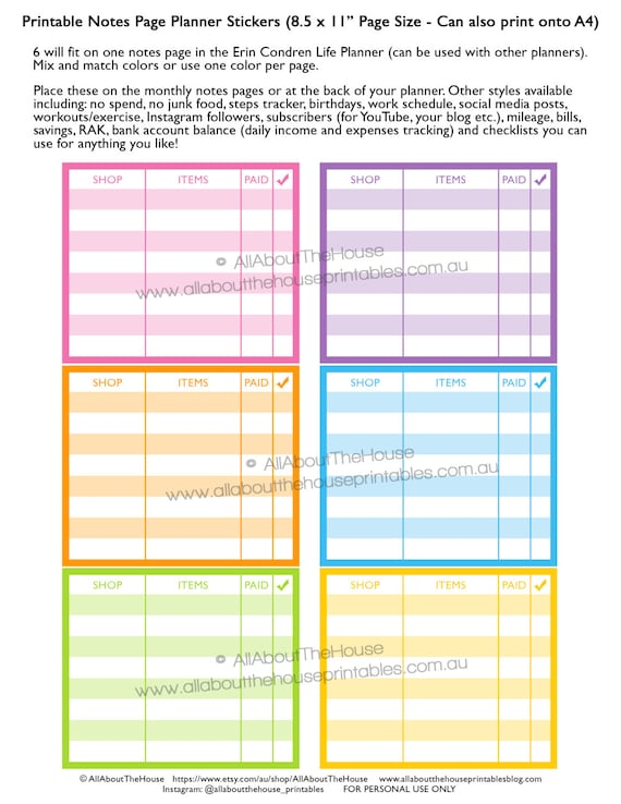 52a7b39cb9a97 Online shopping planner stickers notes page Printable shopping happy ...