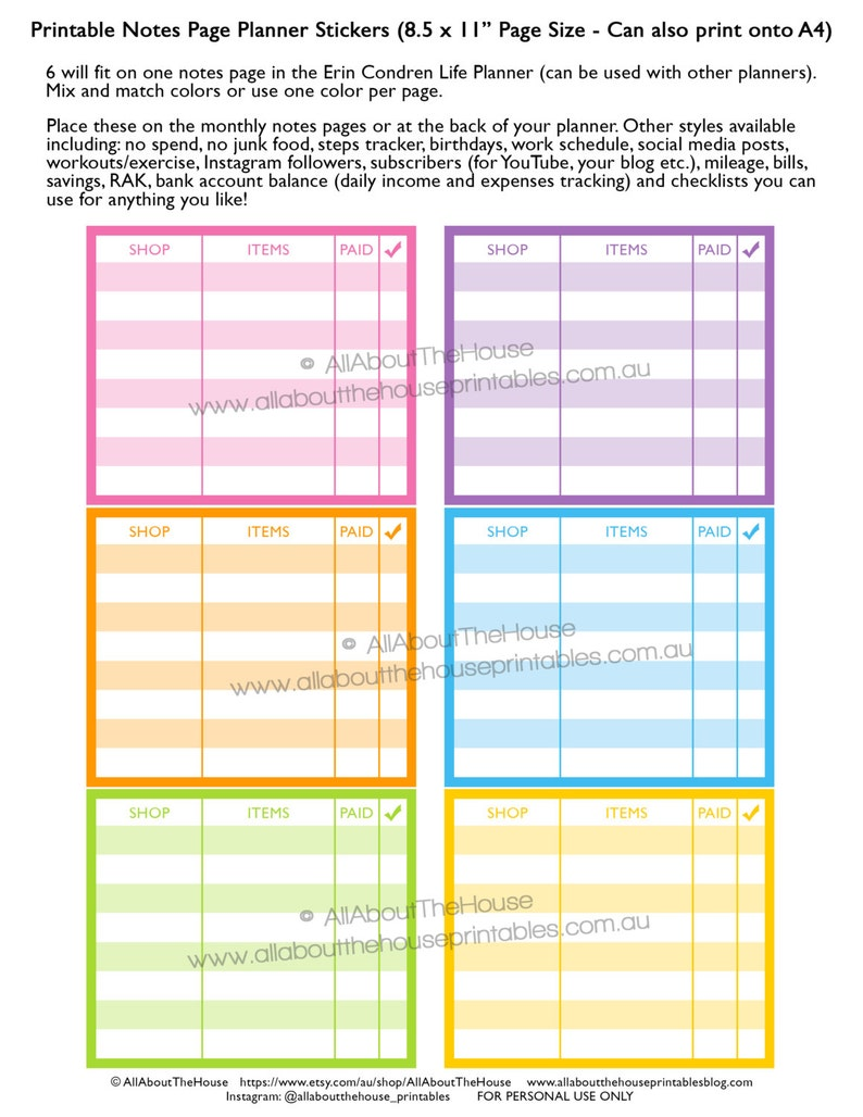 Online shopping planner stickers notes page Printable shopping image 0
