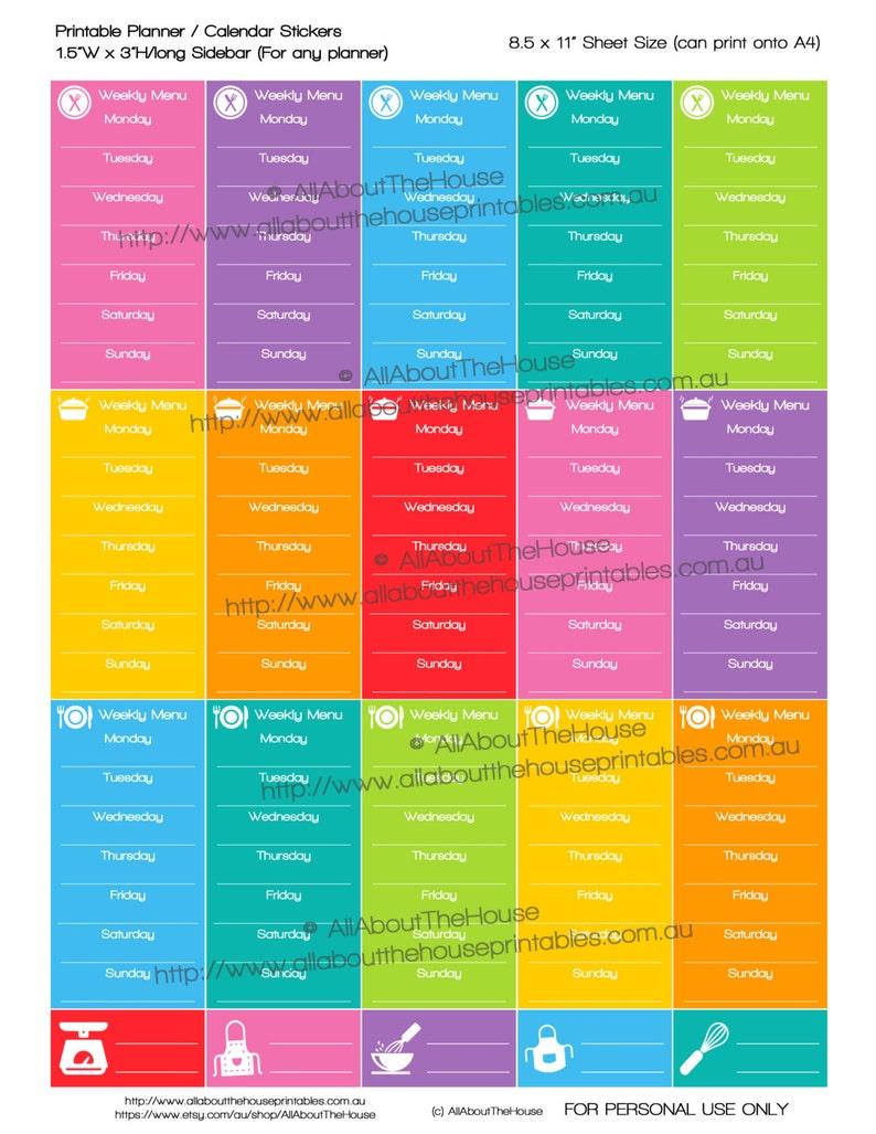 Meal Plan Planner Stickers Printable Weekly menu planner image 0