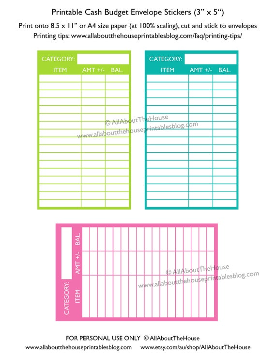 cash envelope budgeting printable color coded expense category