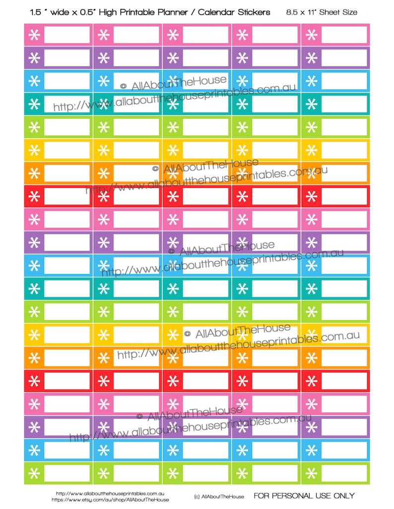 Asterisk Planner Stickers Printable to do reminder Calendar image 0