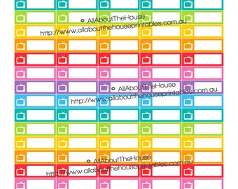 "TV Show Movie Reminder Recording DVR Printable Calendar / Planner Stickers 1.5"" wide x 0.5"" Rainbow 2015 Planner  made for Erin Condren ECLP"