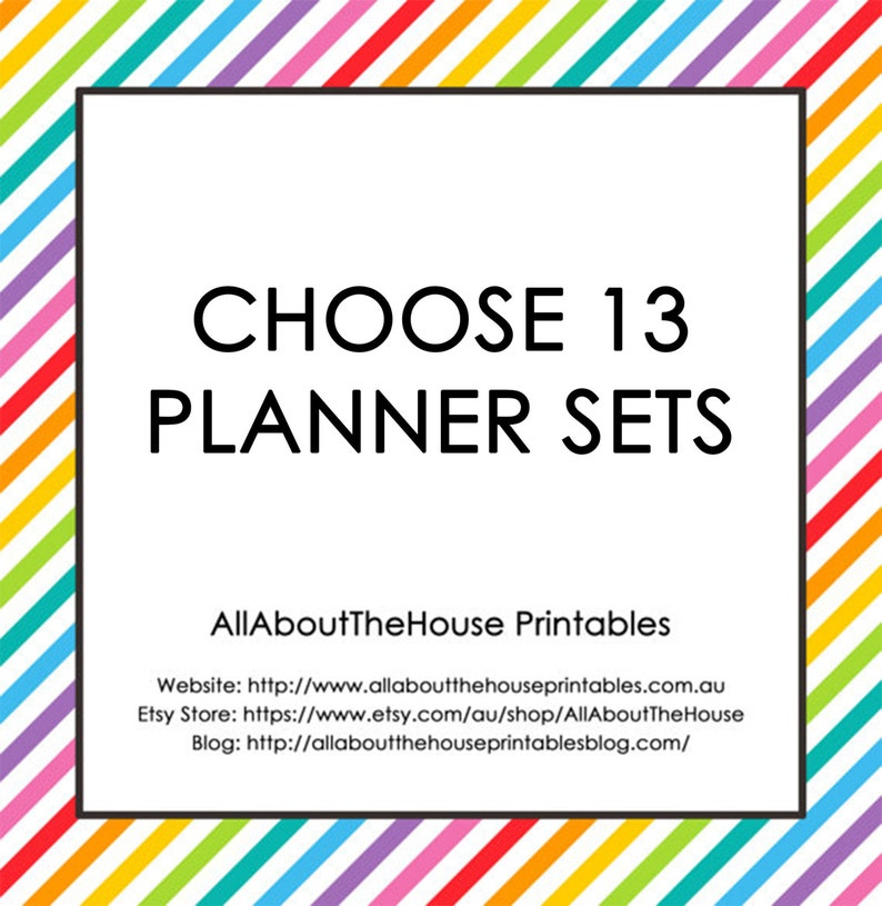 Choose 13 Planner Printable Sets  Create Your Own Planner image 0