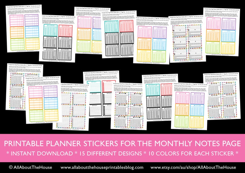 Notes page planner stickers Printable no spend bill checklist image 0