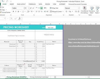 Pricing Calculator shop management Tool Etsy Sellers handmade product, cost of goods sold, COGS, worksheet spreadsheet excel file