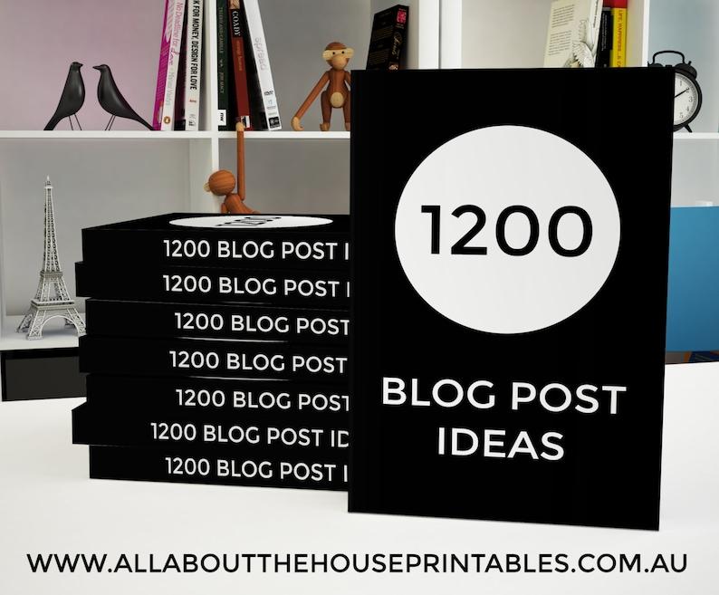 1200 Blog Post Ideas Ebook printable blogging blog post image 0