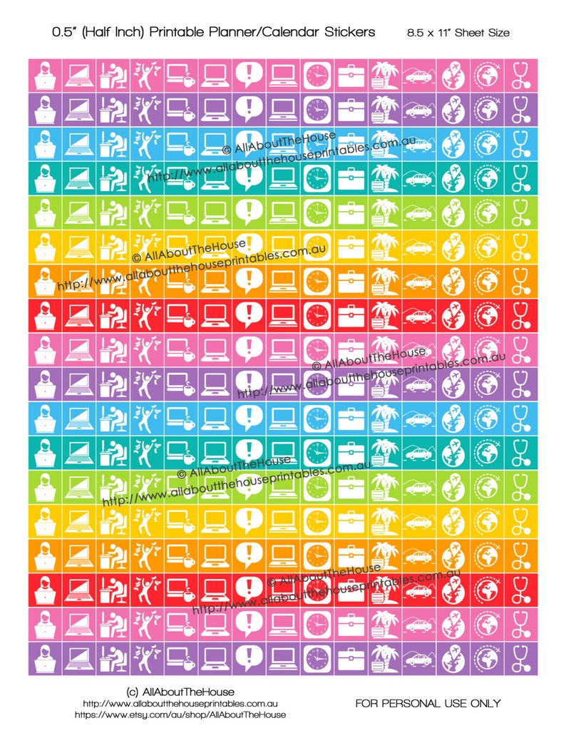 Work planner stickers icon meeting reminder Printable Rainbow image 0