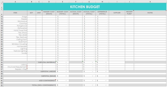 Kitchen Renovation Budget Spreadsheet Organizer Wish List Etsy