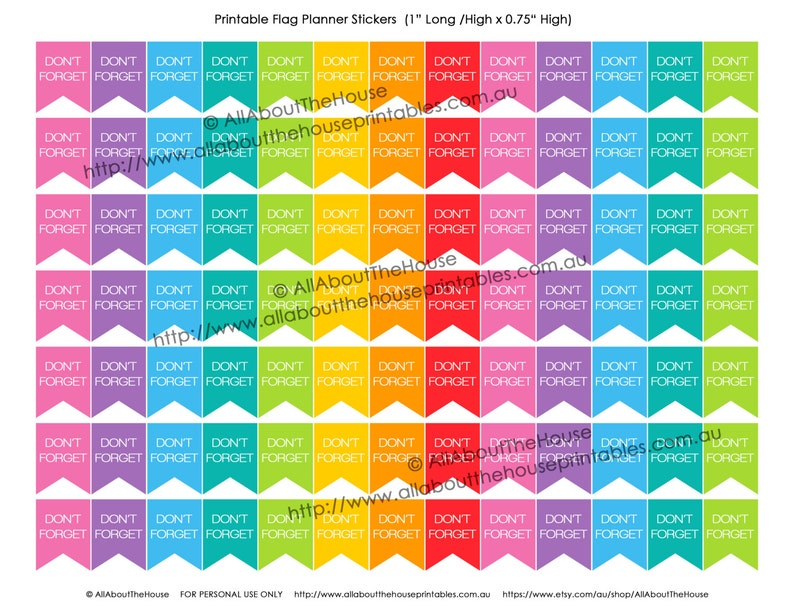 Don't Forget Printable Planner Stickers Flag Banner image 0
