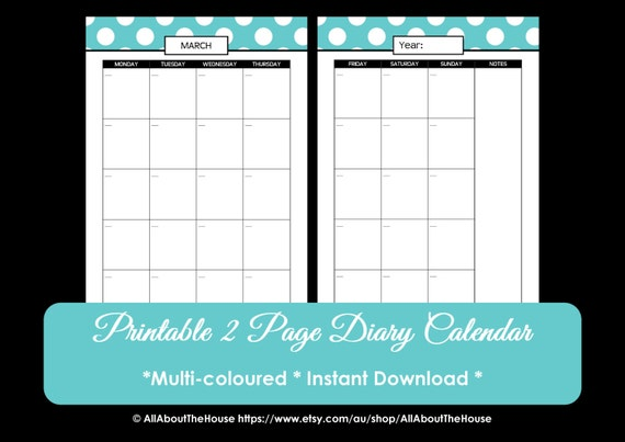 Calendar Printable Perpetual Polka Dot Calendar 2015 2016 | Etsy