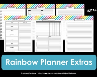 Printable Planner daily planner weekly planner calendar diary PDF Editable day Agenda academic Add On 2016 2017 Letter rainbow to do list