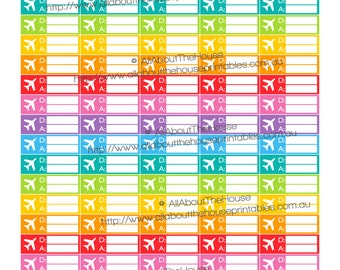 """Travel Planner Stickers Printable Flight Time Airline Vacation Holiday 1.5"""" w x 0.5"""" Erin Condren ECLP Plum Paper or any other planner OL005"""