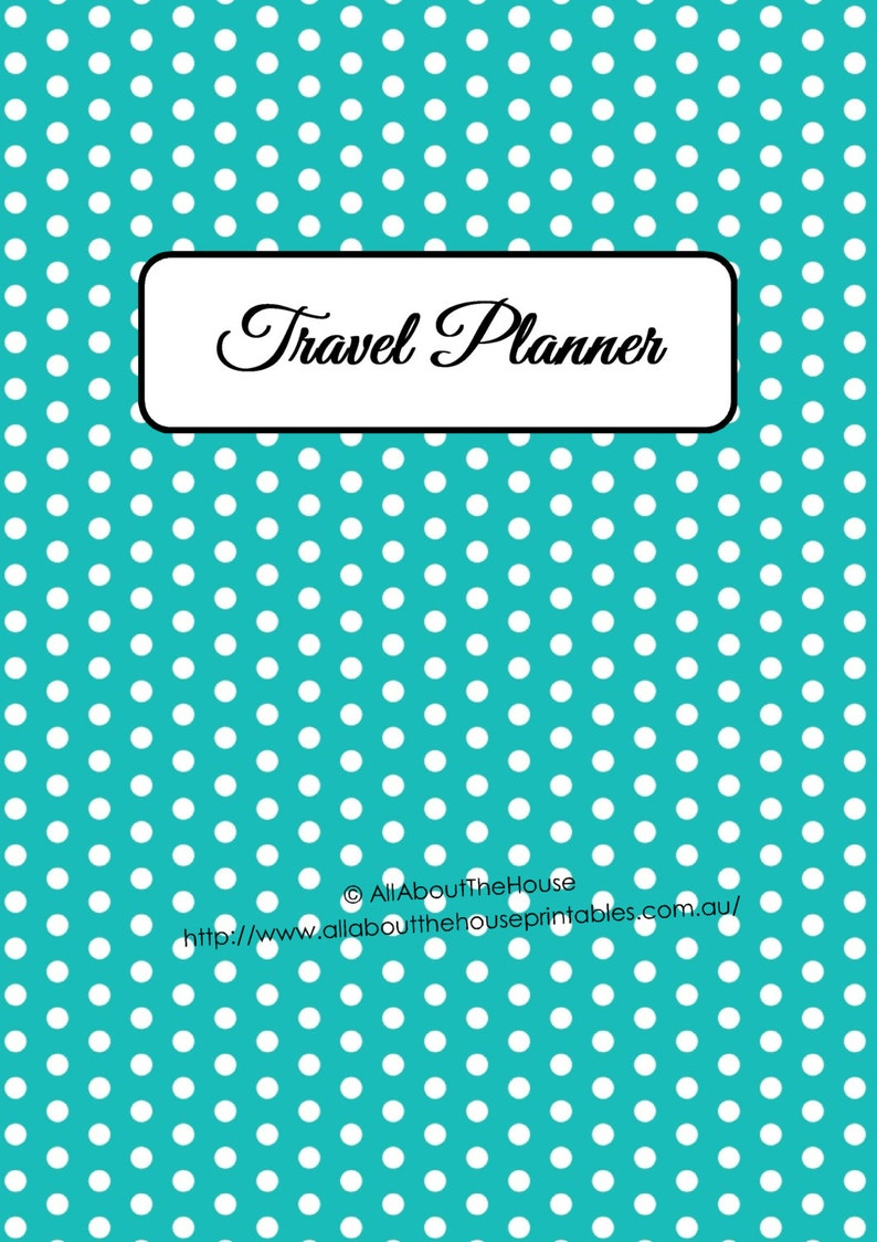 BLUE Polka Dot EDITABLE Travel Planner Kit Printable  Pdf  image 0