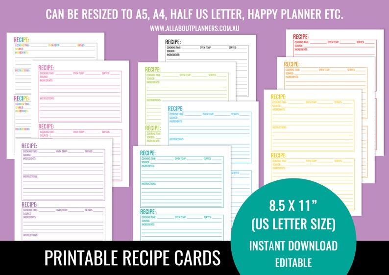 EDITABLE Printable recipe card Template pdf sheet recipe image 0