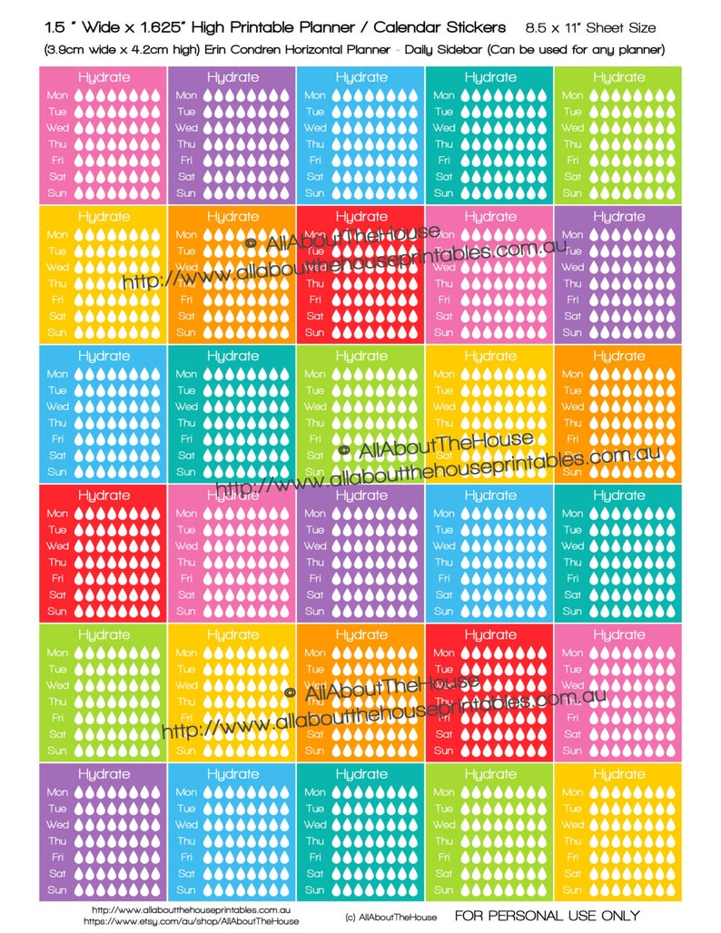 Hydrate Planner Stickers ECLP Horizontal Planner  made for image 0