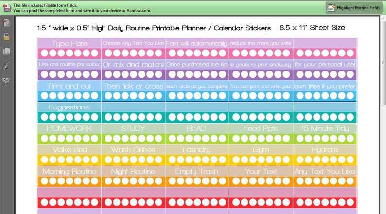 Habit Planner Stickers Printable daily weekly routine image 0