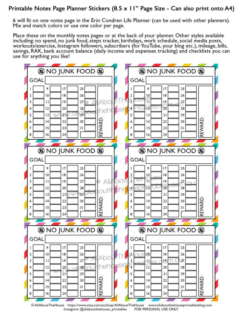 No junk food planner stickers notes page Printable healthy image 0