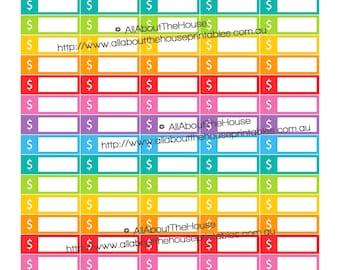 "Money Budget Spending Dollar Sign Bills Printable Calendar / Planner Stickers 1.5"" wide x 0.5"" Rainbow Planner  made for Erin Condren"