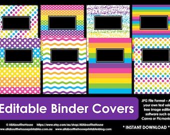 EDITABLE  Printable binder cover notebook planner cover school recipe college household rainbow girl preppy polka dot stripes confetti