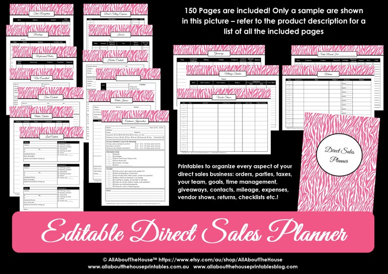 Direct Sales Planner Editable Business Planner Binder image 0