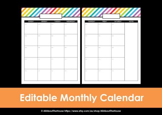 printable calendar 2 page monthly calendar printable rainbow etsy