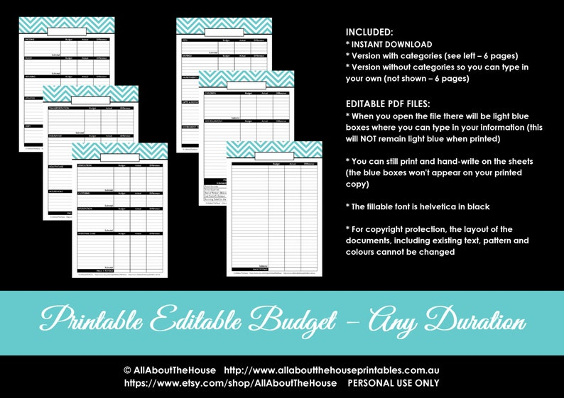 Budget Planner Printable Editable Monthly Budget or any image 0