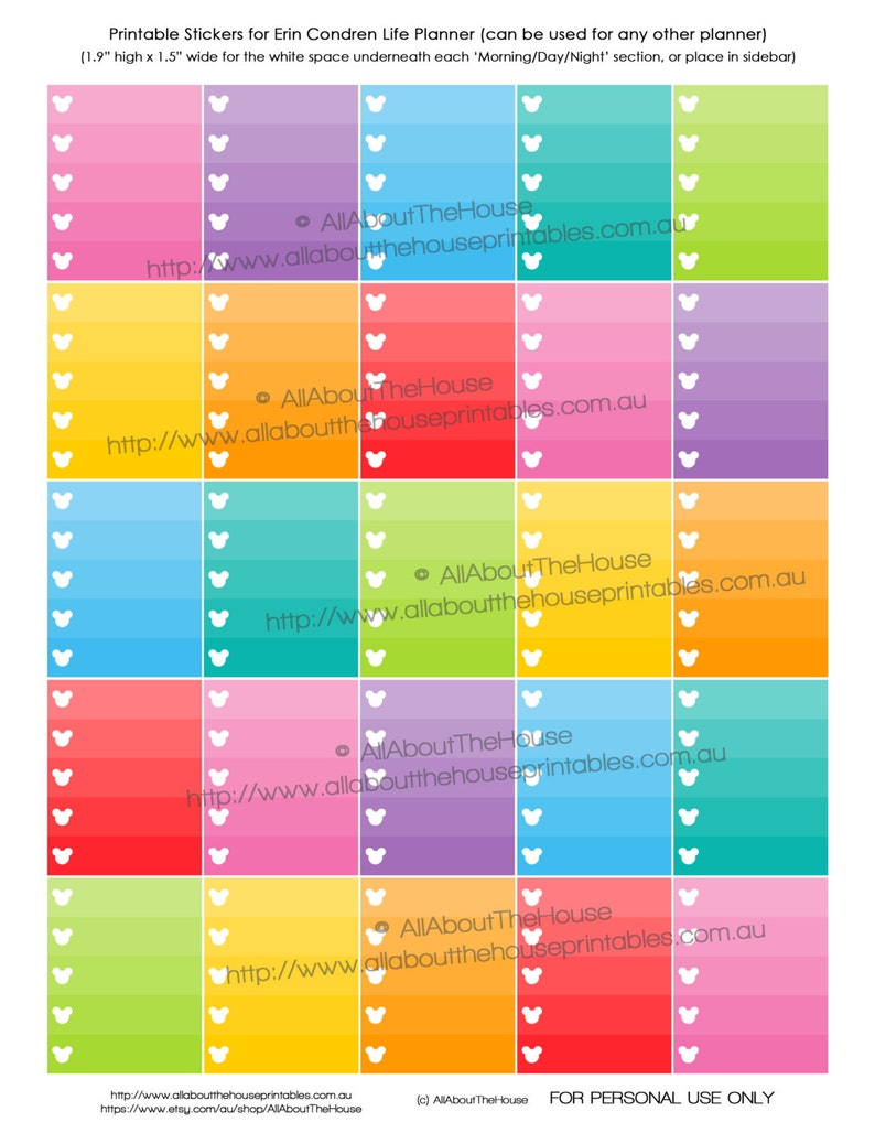 Ombre List Printable Planner Stickers Mickey Mouse Checklist image 0