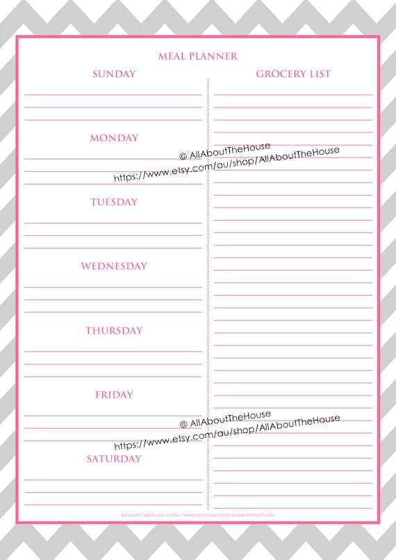 editable meal planner grocery list weekly meal planner menu planning