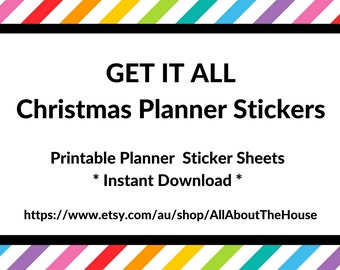 get it all christmas Planner Stickers printable any planner functional red green icon countdown half box full checklist to do bucket list