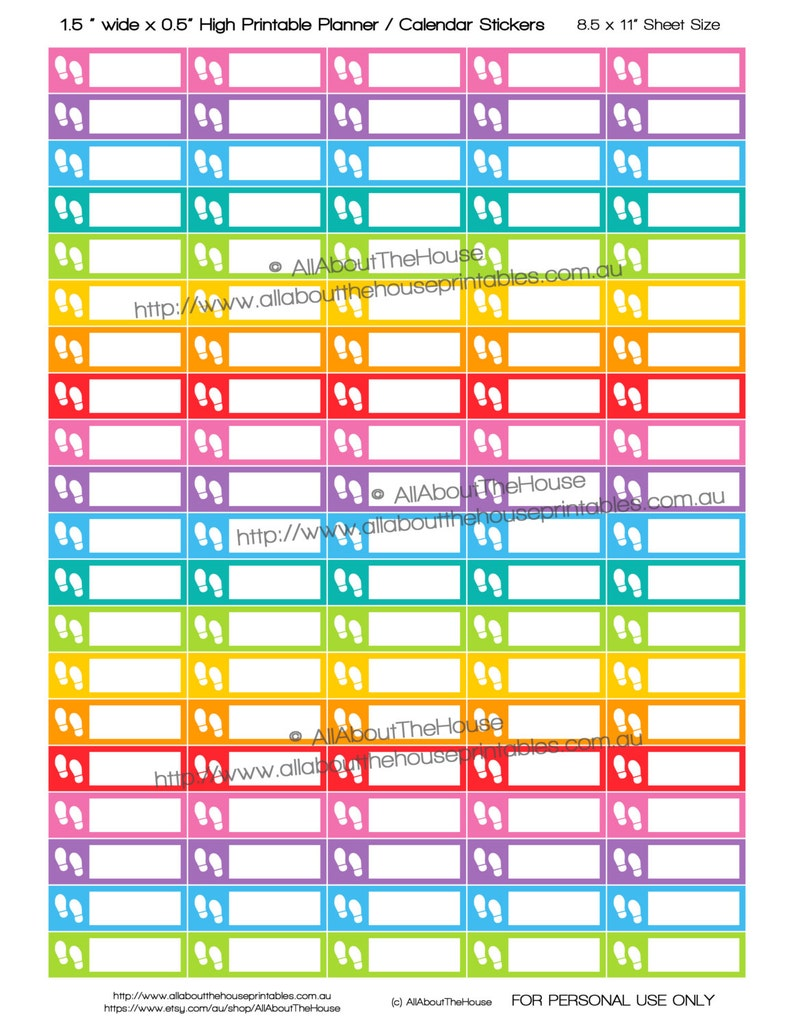 Steps Planner Stickers Printable Health Exercise Running image 0