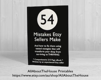 Etsy Business Ebook 54 Mistakes etsy sellers make entrepreneur, etsypreneur, success, ultimate guide, printable, Business tool, Online Store