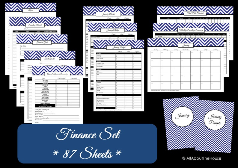 DARK BLUE Finance Organisation Printables  Finance Binder  image 0