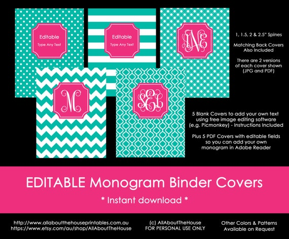 photograph about Free Printable Binder Covers and Spines identify Monogram planner go over Binder Protect backbone Editable Printable