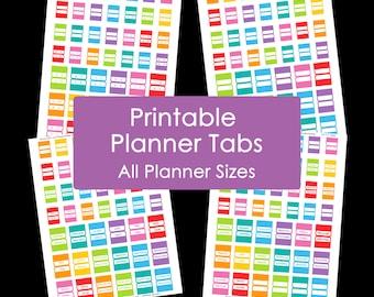 Planner Tabs Printable Daily Planner Rainbow Add On Agenda Organisation PDF 2016 2017 day letter sticker calendar organisation